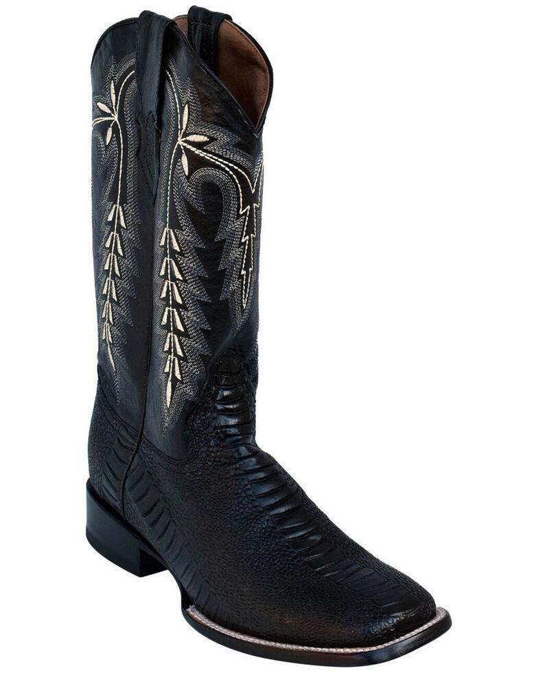 Ferrini Men's Ostrich Leg Print Western Boots - Square Toe, Black, hi-res