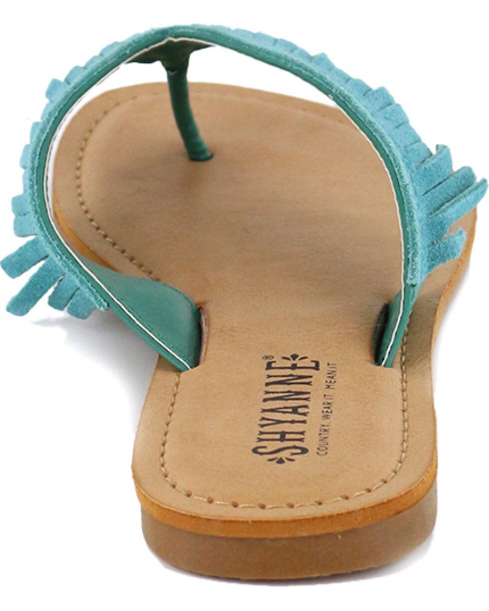 Shyanne Women's Suede Fringe Sandal, Turquoise, hi-res