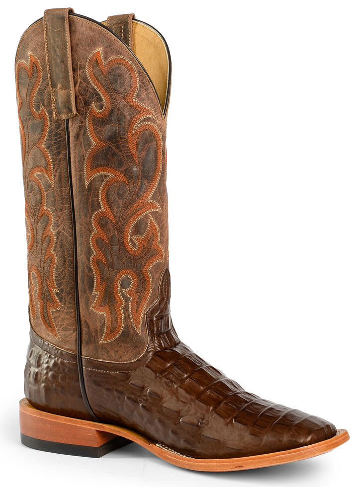 Horse Power Men's Nile Croc Western Boots - Square Toe, Brown, hi-res