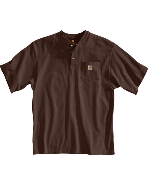 Carhartt Short Sleeve Henley Work Shirt - Big & Tall, Dark Brown, hi-res