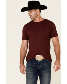 Browning Men's Maroon Logo Emblem Graphic Short Sleeve T-Shirt, Maroon, hi-res