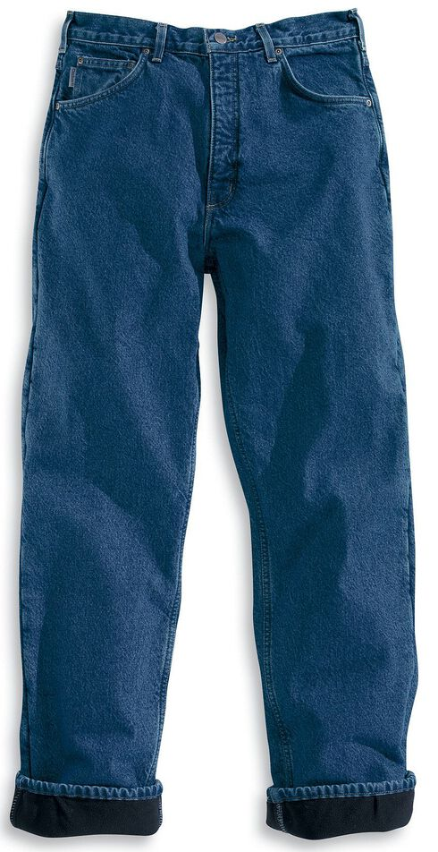Carhartt Fleece-Lined Relaxed Fit Straight Leg Work Jeans, Dark Stone, hi-res