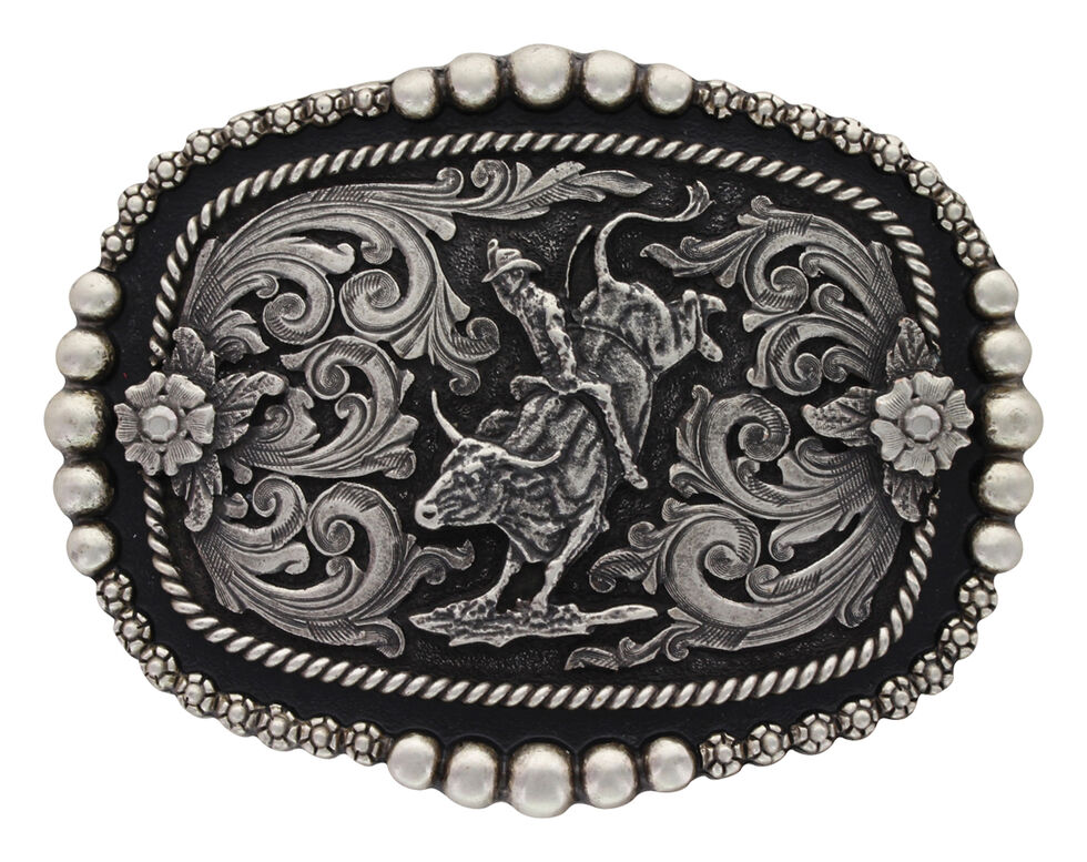Montana Silversmiths Beads & Berries Curved Bullrider Buckle , Silver, hi-res