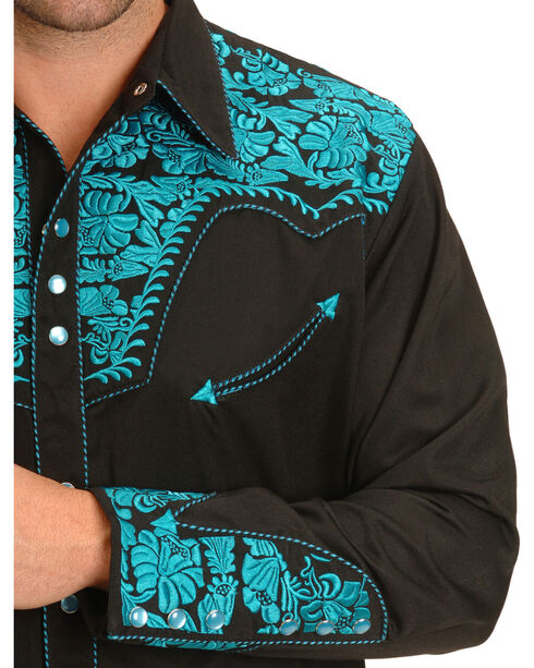 Scully Men's Turquoise Embroidered Gunfighter Shirt, Turquoise, hi-res