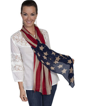 Scully Women's American Flag Scarf, Red, hi-res