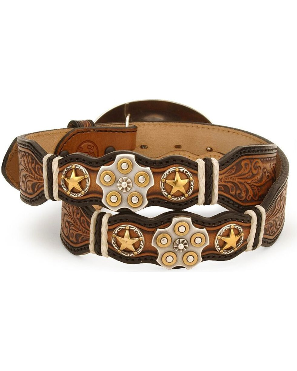 Texas Star Bullet Buckle Leather Belt - Reg & Big, Natural, hi-res