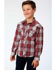 Roper Boys' Multi Plaid Long Sleeve Western Shirt , Red, hi-res