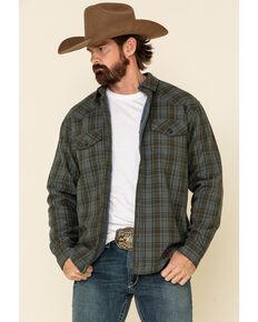 Cody James Men's Tron Bonded Small Plaid Long Sleeve Western Shirt , Green, hi-res