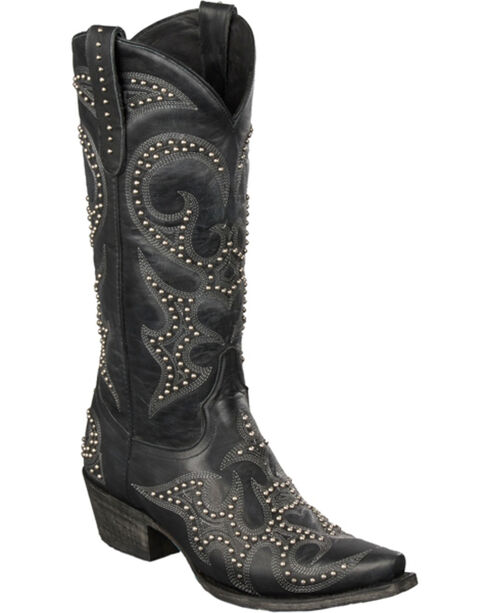 Lane Lovesick Stud Vintage Cowgirl Boots - Snip Toe, Black, hi-res