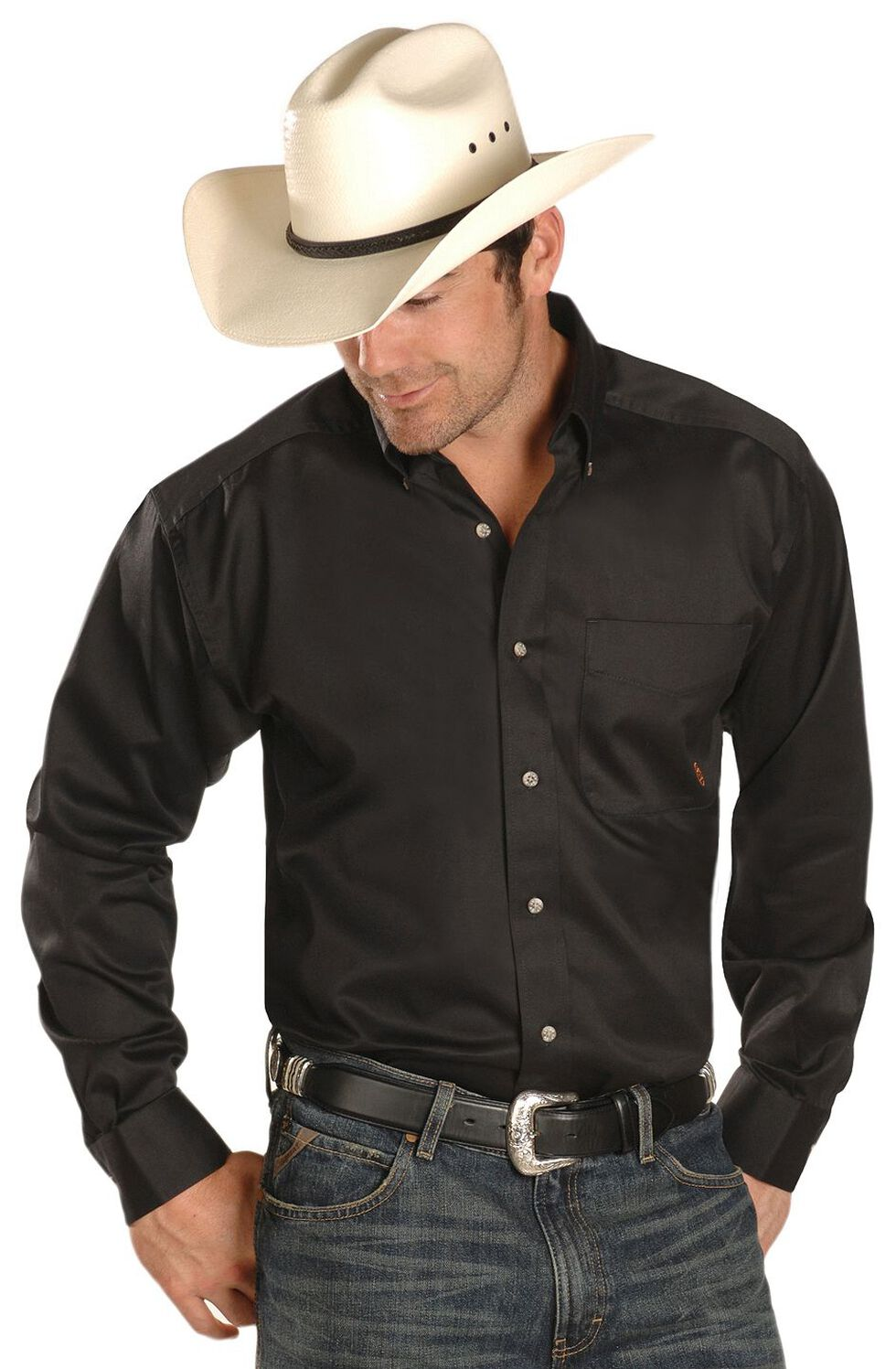 Ariat Black Twill Cowboy Shirt - Big & Tall, Black, hi-res