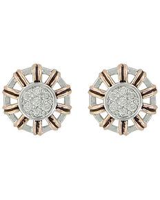 Montana Silversmiths Women's Rose Gold Buck Stitch Pinwheel Post Earrings, Silver, hi-res