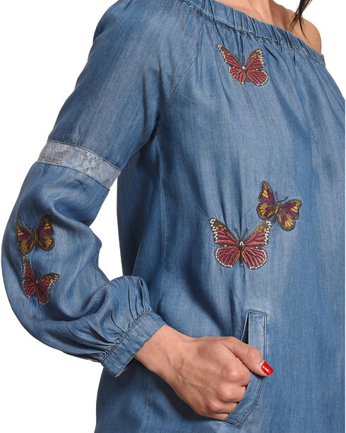 Billy T Women's Blue Off The Shoulder Butterfly Dress , Blue, hi-res