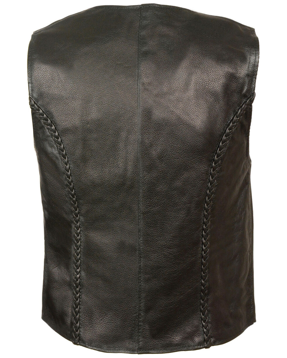Milwaukee Leather Women's Zipper Front Braided Vest - 5XL, Black, hi-res