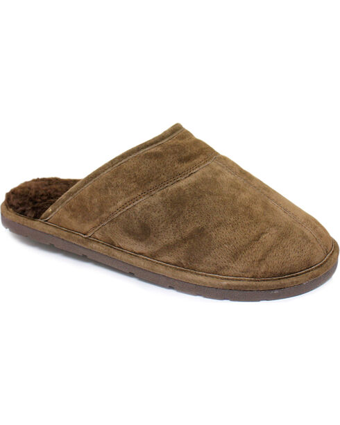 Men's Scuff Leather Slippers, Chocolate, hi-res
