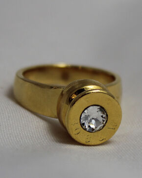 SouthLife Supply Women's Grace Bullet Ring in Traditional Gold with Crystal, Gold, hi-res