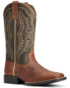 Ariat Boys' Ace Croc Print Western Boots - Wide Square Toe, Brown, hi-res
