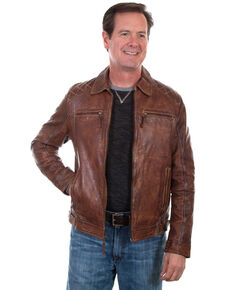 Scully Leatherwear Men's Brown Washed Lamb Leather Jacket - Big , Brown, hi-res