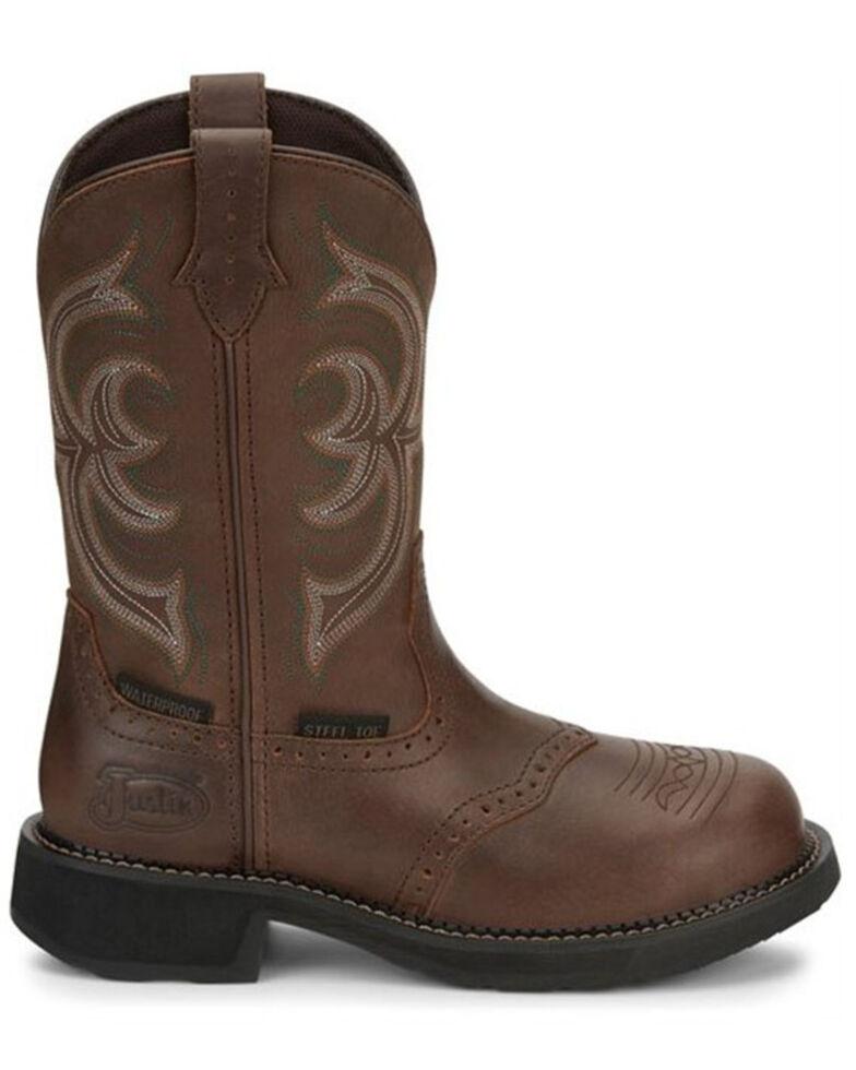 Justin Women's Wanette Waterproof Western Work Boots - Steel Toe, Brown, hi-res