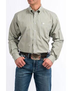 Cinch Men's Grey Tencel Geo Print Long Sleeve Western Shirt , Grey, hi-res