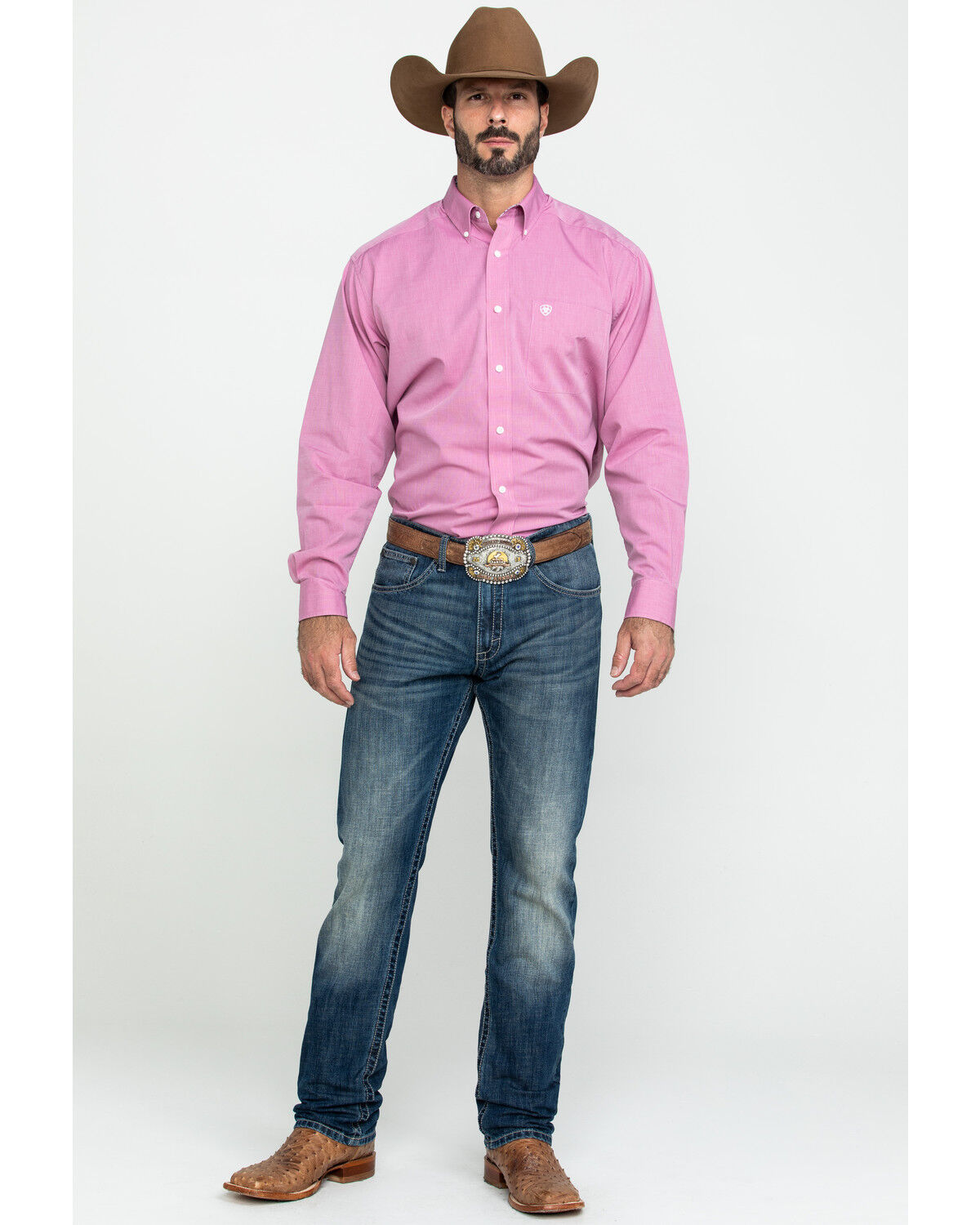 Big Mens Wrinkle-Free Pinpoint Oxford Long Sleeve Shirt