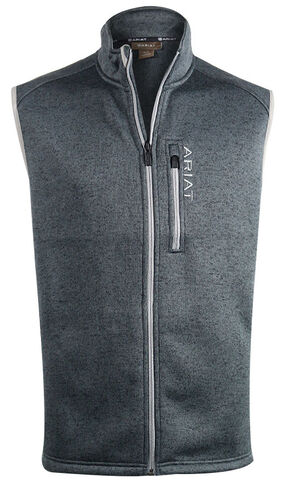 Ariat Men's Caldwell Knitted Zip Front Vest , Charcoal Grey, hi-res