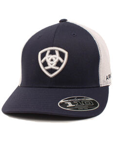 Ariat Men's Navy Embroidered Shield Logo Flex Fit Mesh Cap , Navy, hi-res