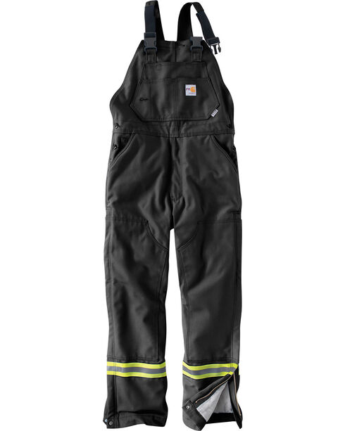 Carhartt Men's Flame Resistant Quilted Lining Overalls, Black, hi-res