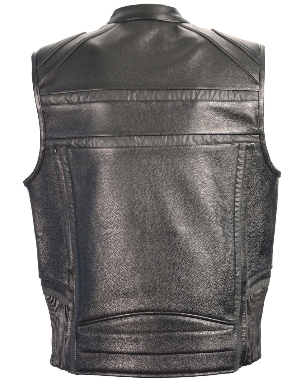 Milwaukee Leather Men's Reflective Band & Piping Zip Front Vest - 5X, Black, hi-res