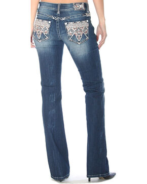 Grace in LA Women's Tribal Embellished Pocket Jeans - Boot Cut, Indigo, hi-res