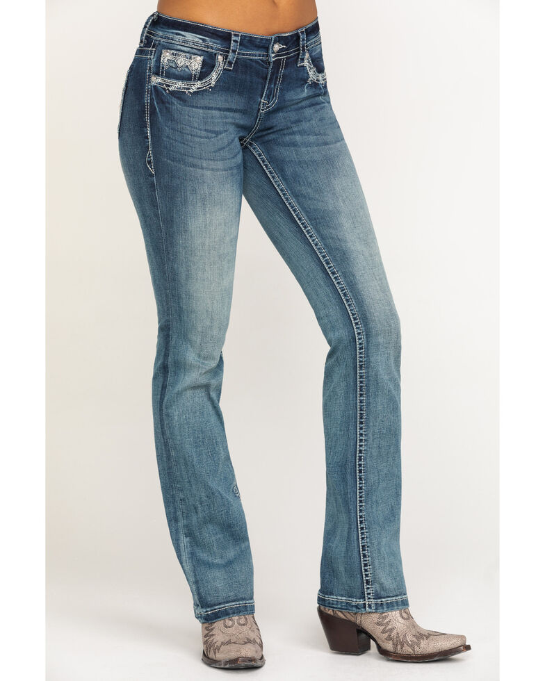 Grace in LA Women's Aztec Pocket Bootcut Jeans, Blue, hi-res