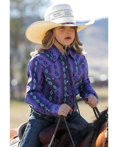 Cruel Girl Girls' Purple Aztec Print Long Sleeve Western Shirt, Purple, hi-res