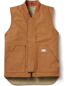 Rasco Men's Brown FR Work Vest - Tall , Brown, hi-res