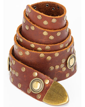 Leatherock Women's Brown Brass Studded Wrap Belt , Brown, hi-res