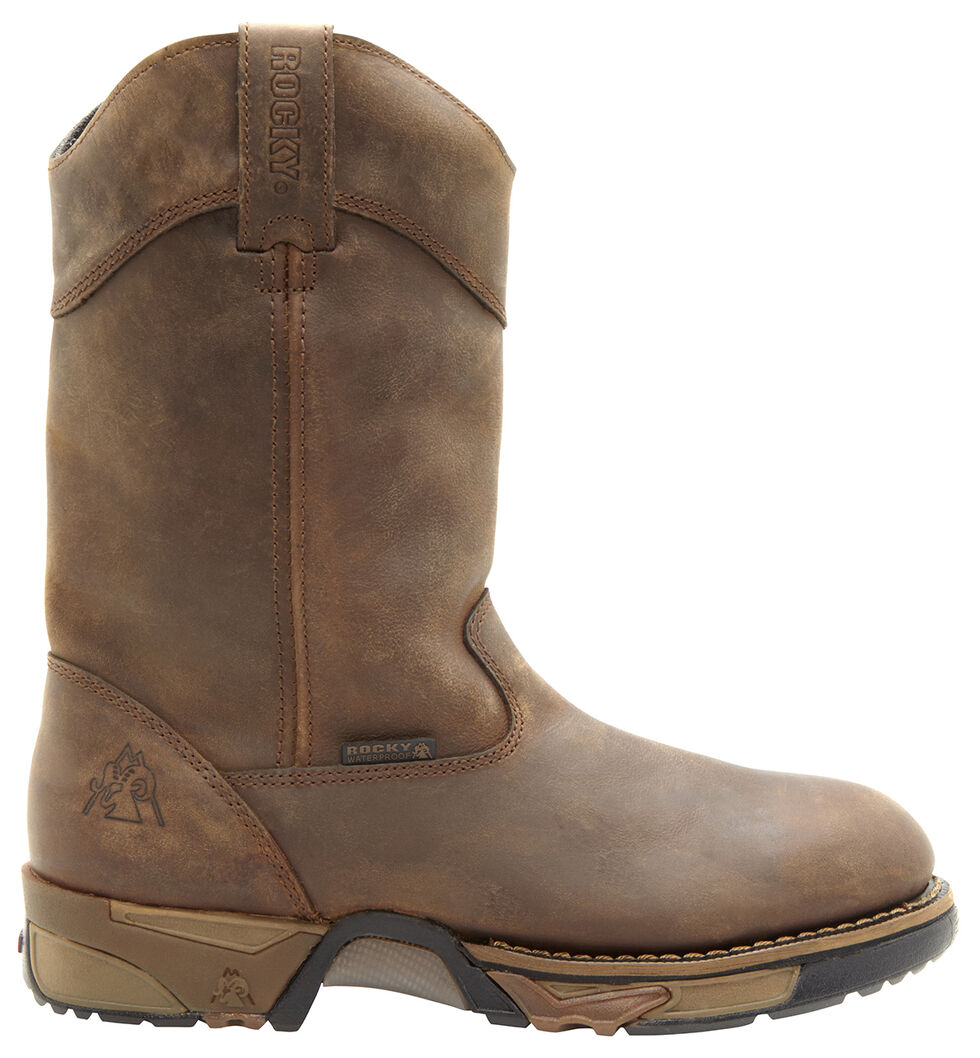 Rocky Aztec Waterproof Wellington Work Boots - Round Toe, Tan, hi-res
