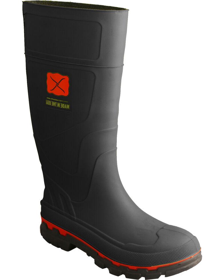 Twisted X Men's Black Rubber Boots - Steel Toe , Black, hi-res