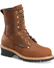 Carolina Men's Brown Waterproof Logger Boots - Steel Toe, Brown, hi-res