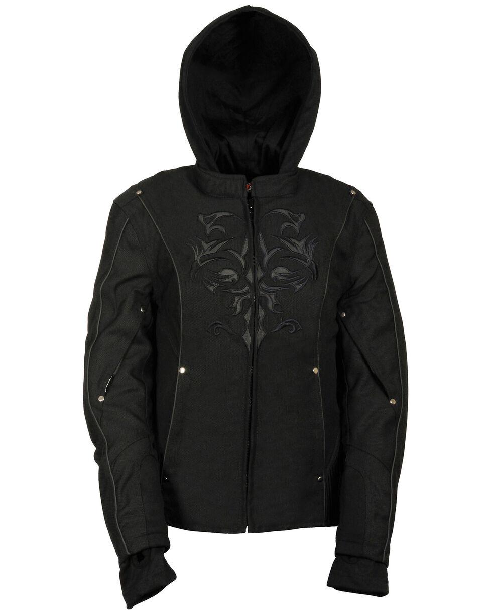 Milwaukee Leather Women's Reflective Tribal 3/4 Textile Jacket, Black, hi-res