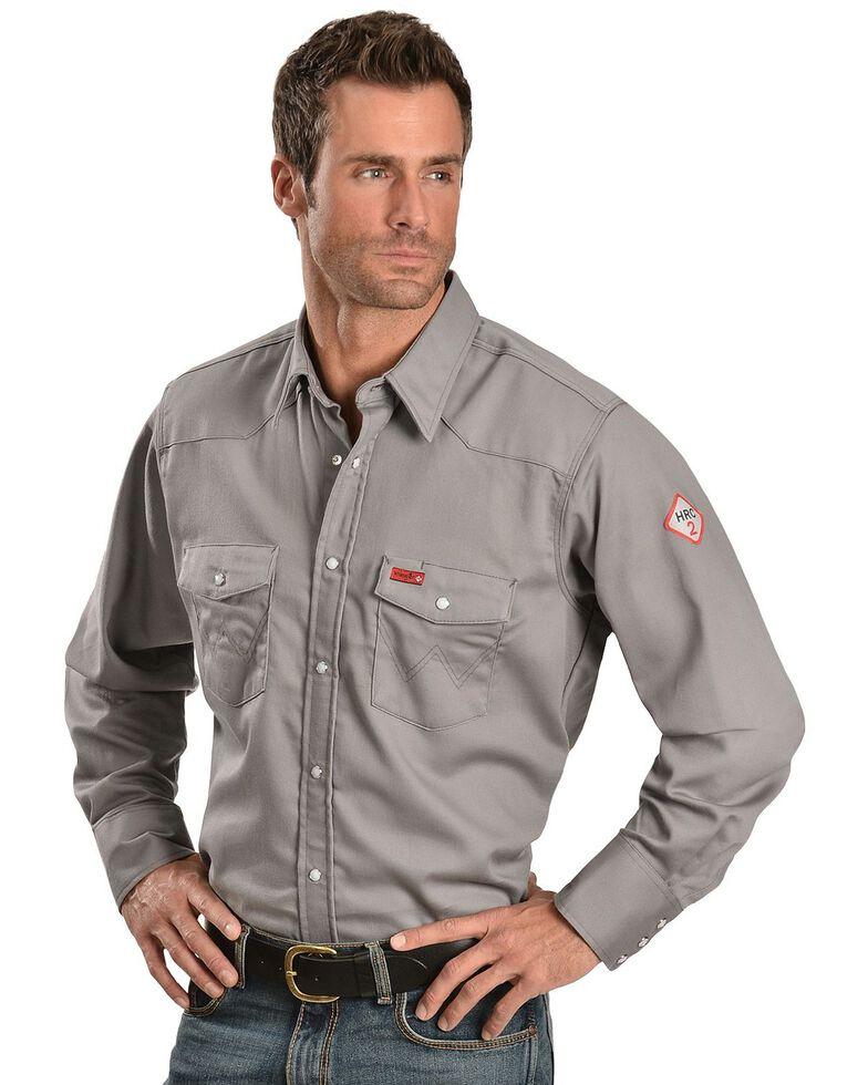 Wrangler Men's Lightweight Flame Resistant Long Sleeve Work Shirt, Charcoal Grey, hi-res