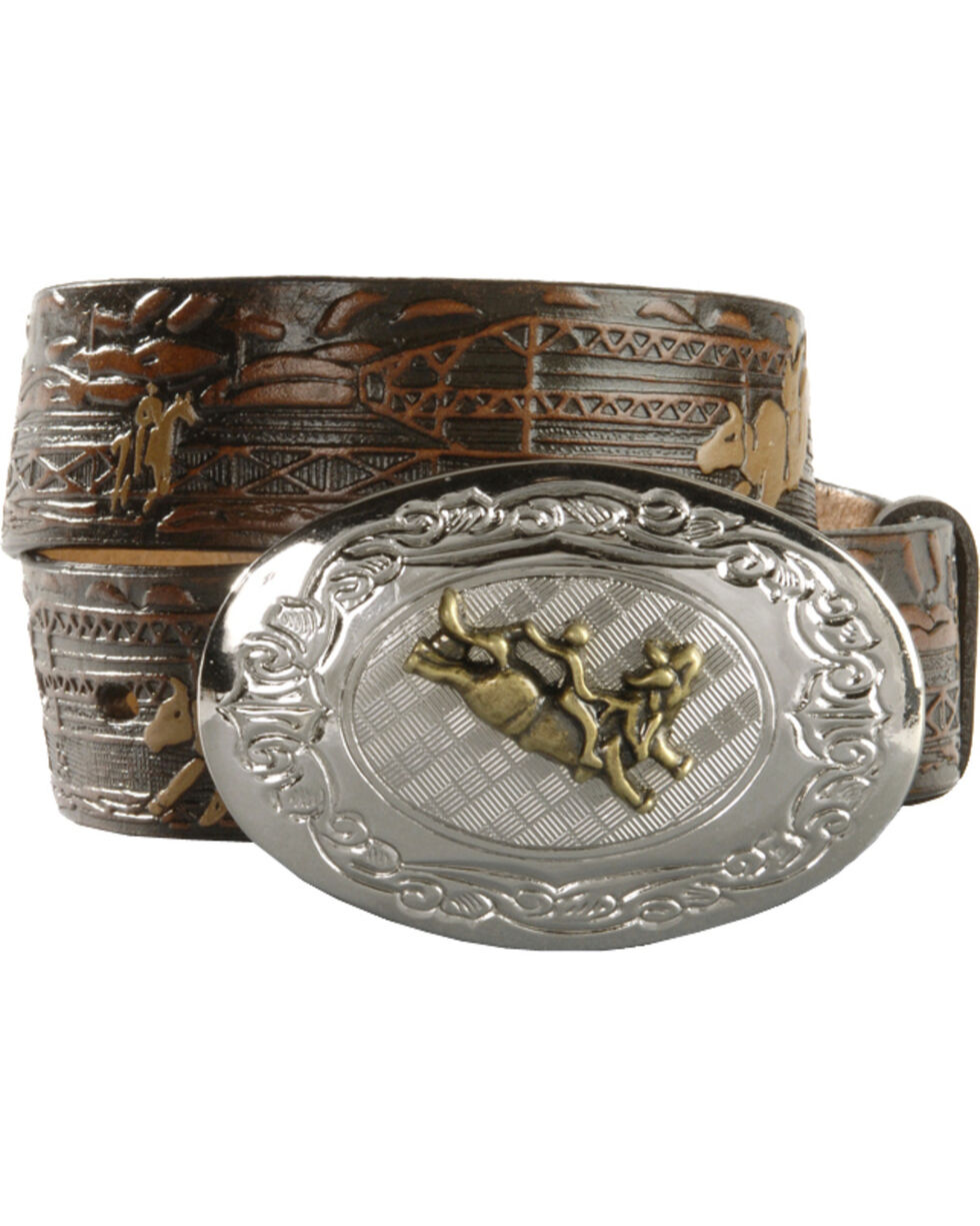 Nocona Kids' Bucking Bull Embossed Leather Belt - 18-26, Brown, hi-res