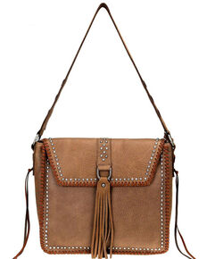 Delila Women's Coffee Ring Tassel Leather Hobo, Coffee, hi-res