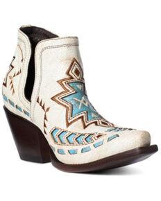 Ariat Women's Dixon Aztec Fashion Booties - Snip Toe, White, hi-res