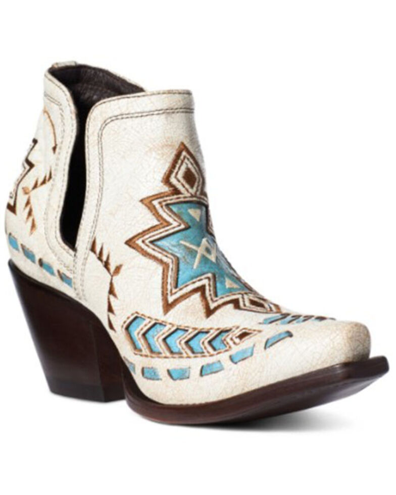 Ariat Women's Dixon Aztec Fashion Booties - Snip Toe, White, hi-res
