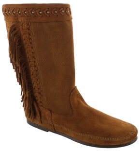 Minnetonka Women's Luna Fringe Boots, Brown, hi-res