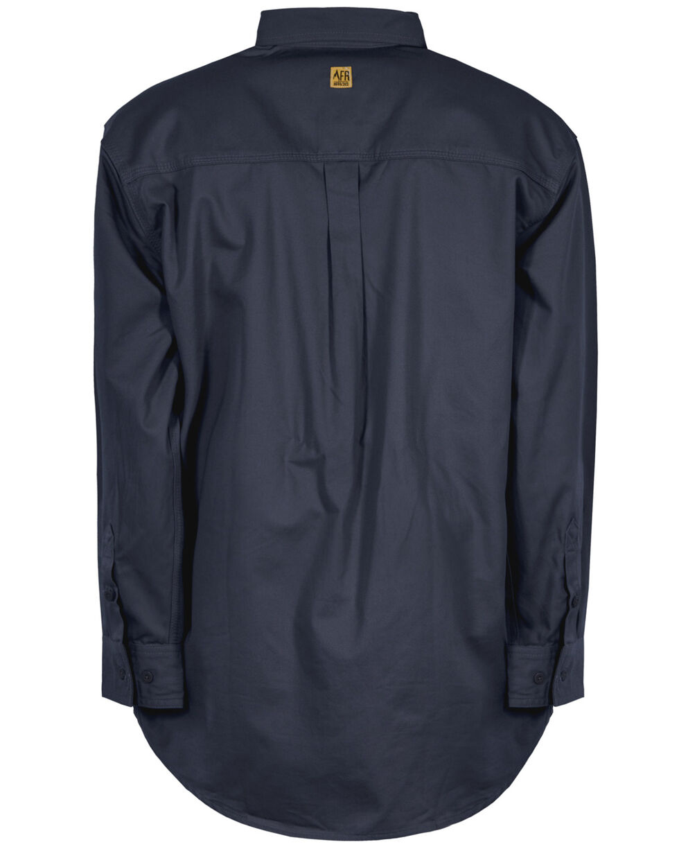 Berne Flame Resistant Button Down Work Shirt, Navy, hi-res