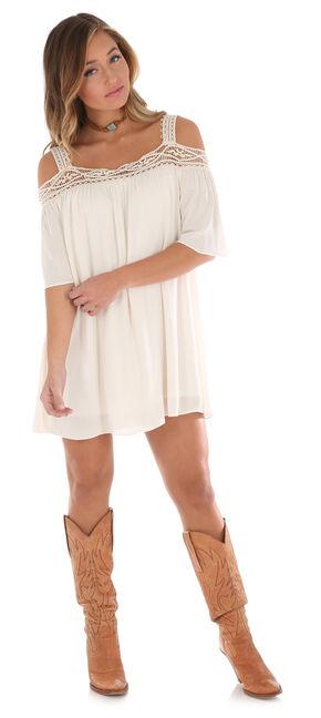 Wrangler Women's Crochet Trim Cold Shoulder Dress , Ivory, hi-res