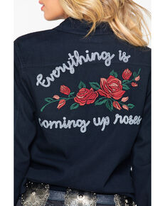 e7540751fa1ebe Rock and Roll Cowgirl Womens Rose Embroidered Long Sleeve Shirt