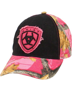 Ariat Ladies Pink Camo Logo Cap, Multi, hi-res