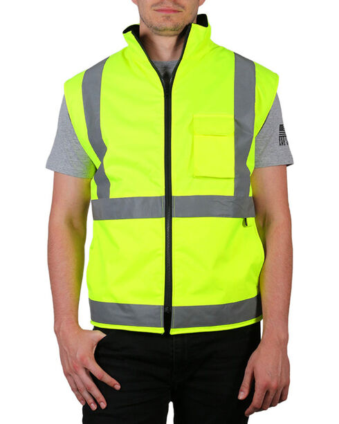 American Worker Neon Reflective Safety Vest, Yellow, hi-res