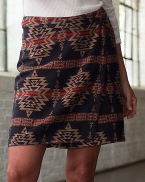 Ryan Michael Women's Aztec Cross Wrap Skirt , Multi, hi-res