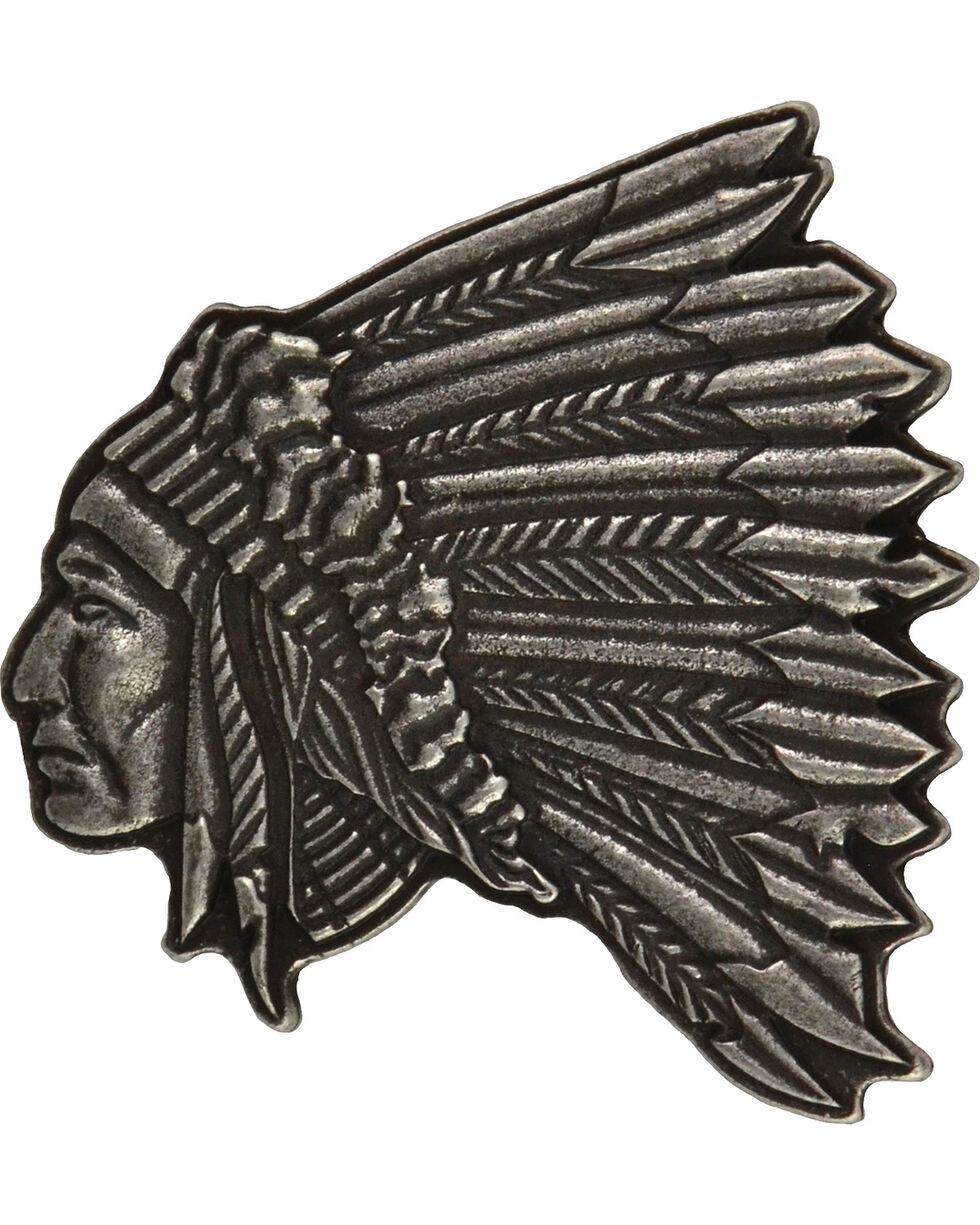 Montana Silversmiths Men's Indian Head Antique Silver Attitude Buckle, Antique Silver, hi-res